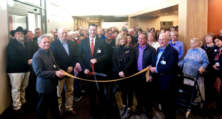A Sturgis Regional Health Medical Clinic Ribbon Cutting was held to mark the opening of a $10.3 million expansion. In the front row is Dr. Charles Lewis, Sturgis Community Medical Director, Darrell Pulscher, chairman of the Patient-Family Advisory Council