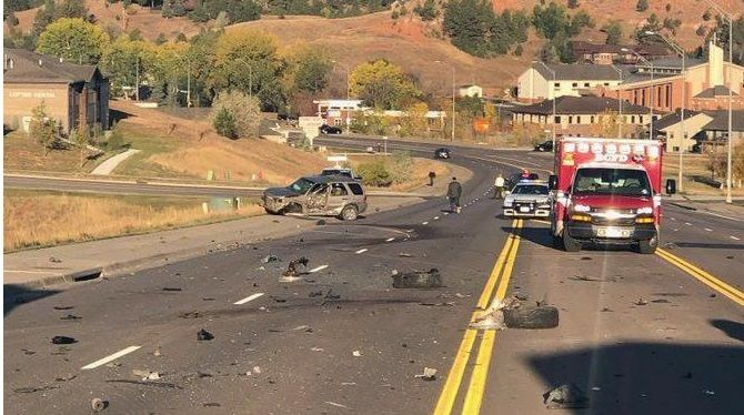 Scene of an accident on Catron Boulevard Thursday morning.