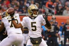In this Sunday, Oct. 20, 2019 file photo, New Orleans Saints quarterback Teddy Bridgewater (5) throws against the Chicago Bears during the first half of an NFL football game in Chicago. The Carolina Panthers have worked out a deal with Teddy Bridgewater t