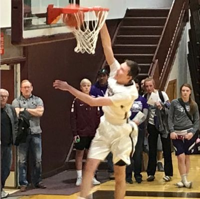 Connor Crane with a slam dunk at the Senior All Star Game Sunday