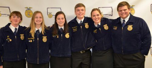 2018-19 South Dakota FFA State Officer Team (L-R),  President- William (Colton) Riley, Rapid City, Vice President- Sarah Kroeger, Lennox, Secretary- Marie Robbins, Elkton, Treasurer- Grady Gullickson, Flandreau, Reporter- Carolyn Blatchford, Brookings, Se