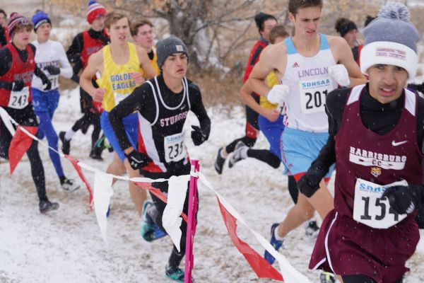 The State Cross Country meet was run in the snow at Hart Ranch Saturday.