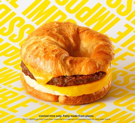 "Impossible Sausage was introduced at select Burger King locations this month in an ""Impossible CROISSAN'WICH."""