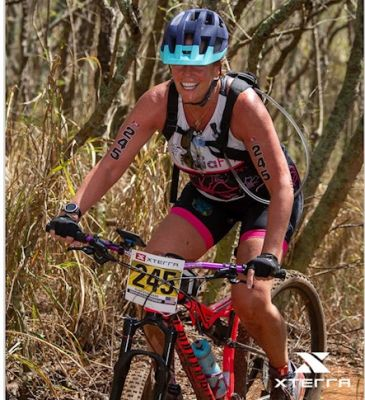 Mary Storgaard competes in the mountain bike portion of the Xterra World Championship, Sunday Oct. 27 in Kapalua, Maui.