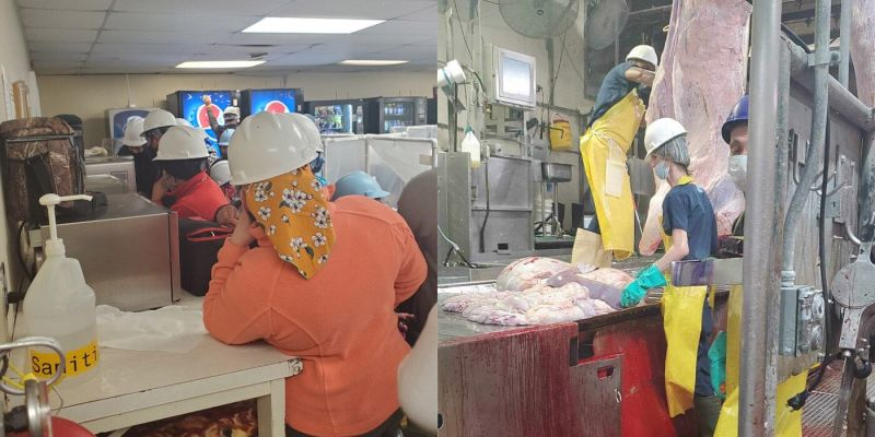 Workers in the cafeteria (left) and kill floor (right) at Noah's Ark Processing meatpacking plant in Hastings, NE.