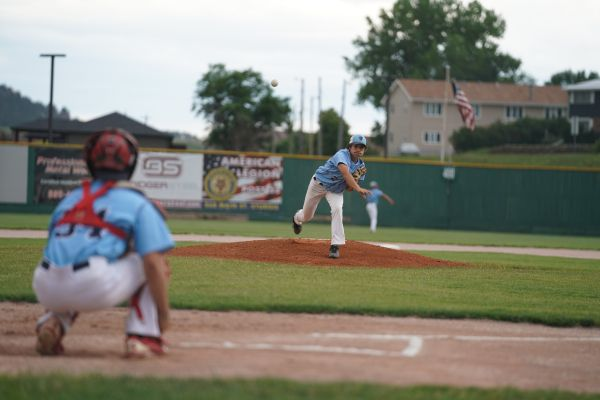 Titan pitcher Gage Murphey warms up prior to the Post 33 home finale against Rapid City Post 22.