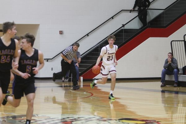 Marcus Myrick brings the ball up the court vs Aberdeen Central Saturday.