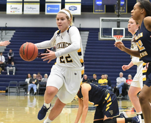 Lynsey Prosser had a big game for Augustana Saturday, helping the Vikings to a Central Region win.