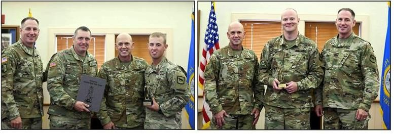 From left, U. S. Army Sgt. 1st Class Brian Voight, center, 109th Regional Support Group, South Dakota Army National Guard, is named the 2019 SDARNG Non-commissioned Officer of the Yearreceiving the award from Brig. Gen. Michael Oster and Command Sgt. Maj.