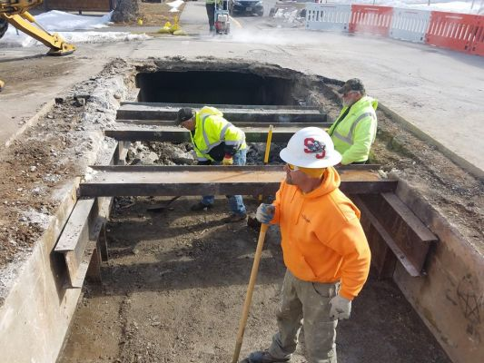 A sink hole located above an existing drainage channel is being repaired by the Sturgis Public Works department.