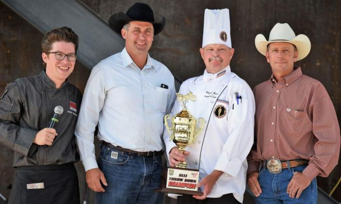 Last year's winner was Clark Braun, Alpine Inn chef from Hill City. Left, Celebrity Chef, Justin Warner, the official Team Beef SD chef. Warner works with the SDBIC in promoting beef in South Dakota and abroad. Representing the SDBIC are Gary Deering, Her
