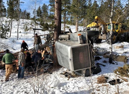 Logging truck accident near Custer