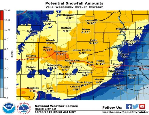 Map of forecasted snow totals for upcoming storm