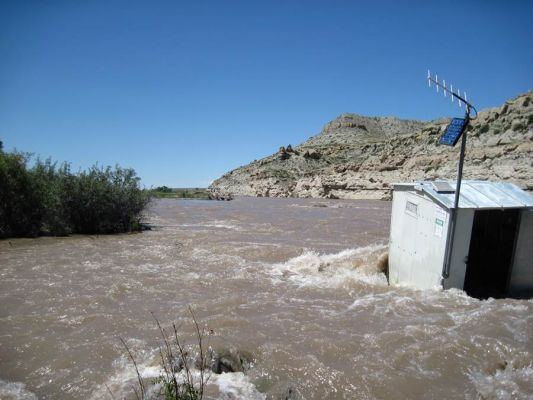 The Wind River in Wyoming is running over a foot above flood stage.